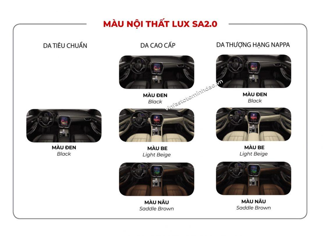 màu nội thất VinFast Lux SA2.0 nâu cafe, trắng be, đen